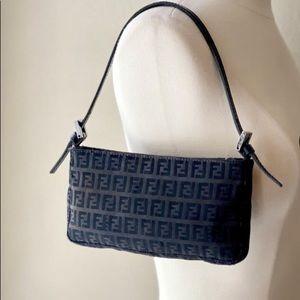 Authentic Fendi Black Zucca mini shoulder bag